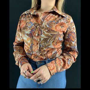 70s Samuel Grossman Floral Tapestry Blouse
